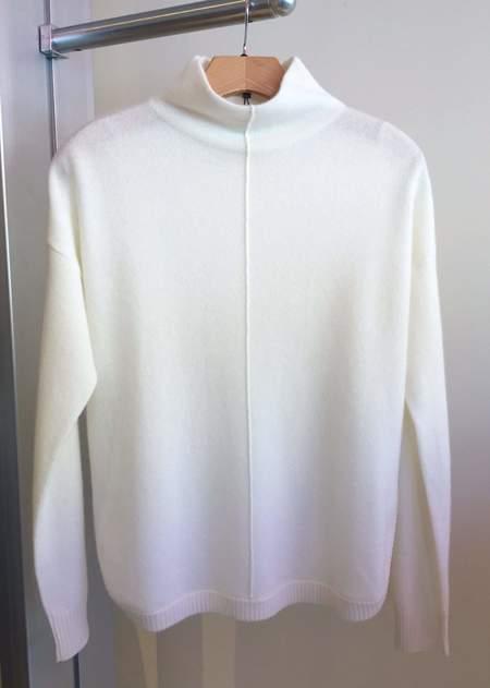 Repeat Cashmere Sweater High Neck w/ Round Hem - Cream Color