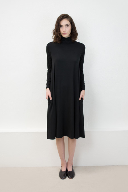Micaela Greg Black Jersey Mock Neck Dress