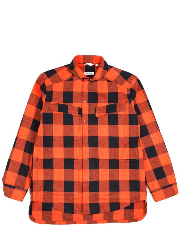 Men's The Hill-Side Astro Cargo Shirt Blaze Orange Buffalo Check
