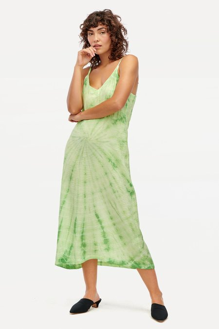 Lacausa Alma Slip Dress - Lime Spiral