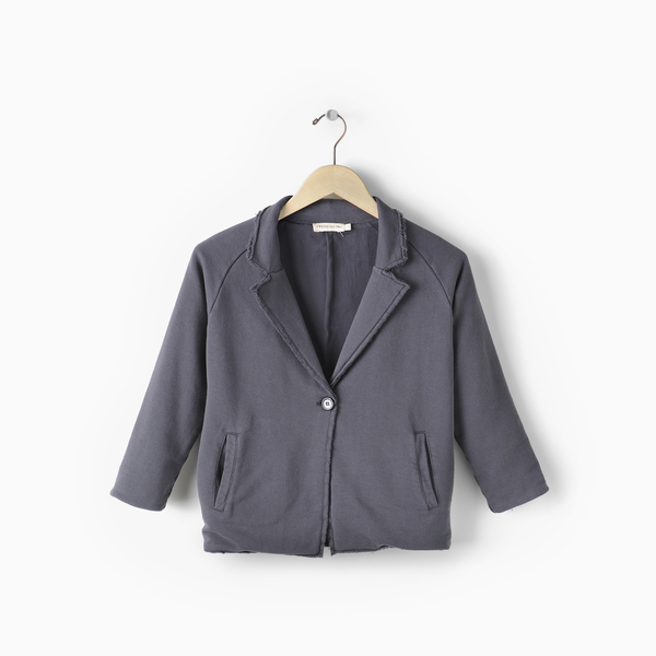 Andorine Grey One Button Blazer