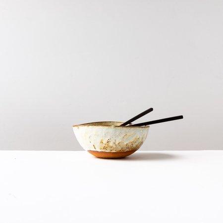Nadine Desmarais Handbuilt Bowl in Red Stoneware & Cream Glaze