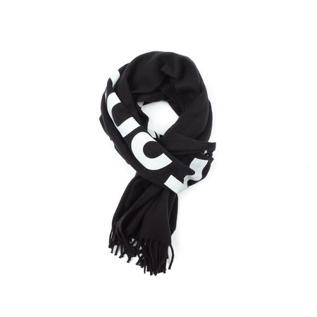 Comme Des Garçons Logo Print Wool Scarf - Black