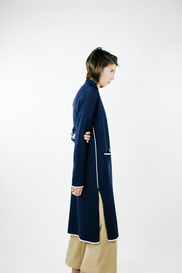 Achro Slim Long Cardigan - Navy