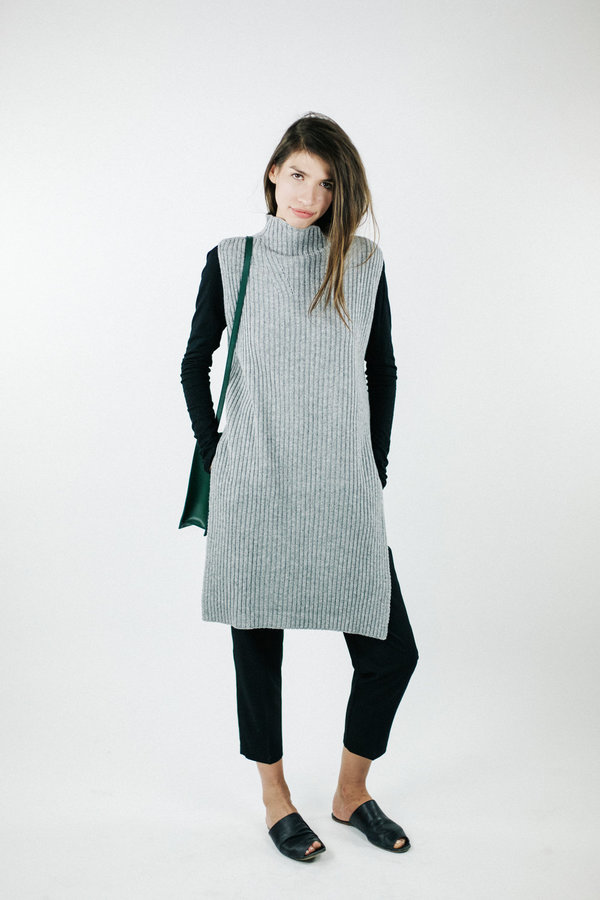 Achro Sleeveless Ribbed Tunic - Grey