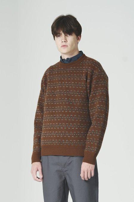 Still By Hand Mixed Wool Pattern Knit - Marron
