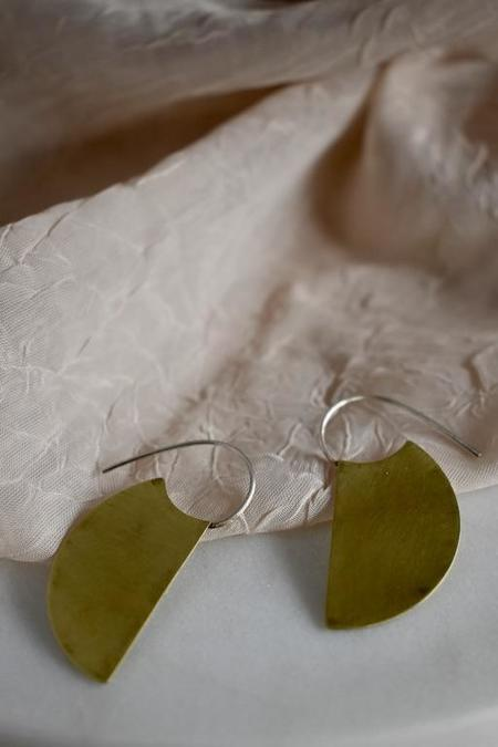 Modern Madini Half Circle Machete Hoop Earrings - Brass
