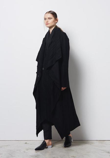 Divka Textured Drape Button Up Coat