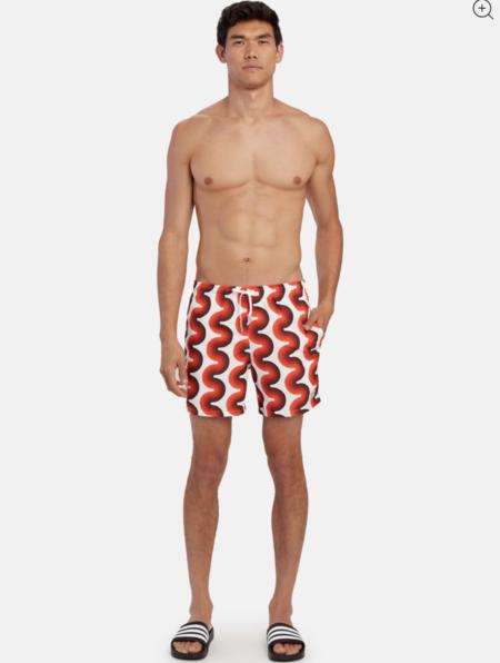 Bather print swim trunk - orange ripple gradient wave