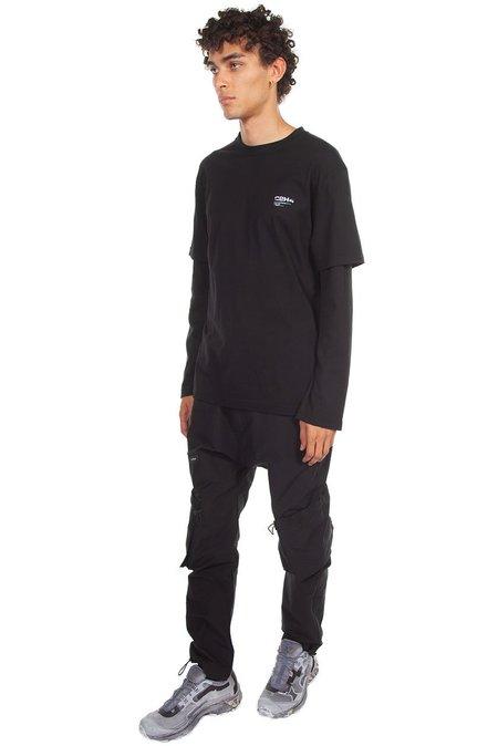C2H4 Double Layer Waffle Knit Long Sleeve T Shirt - Black