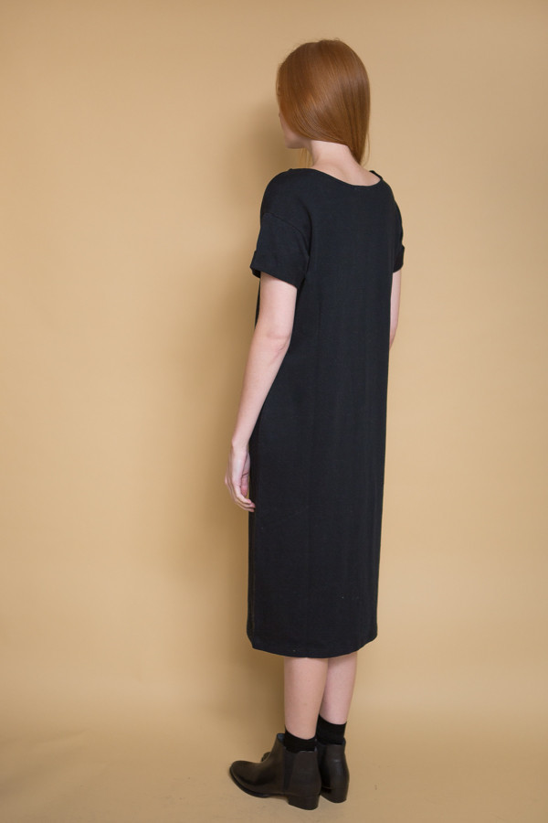 Ali Golden Roll Sleeve T-Shirt Dress - Black