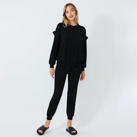 Monrow SUPERSOFT SWEATSHIRT WITH RUFFLE INSERT - BLACK