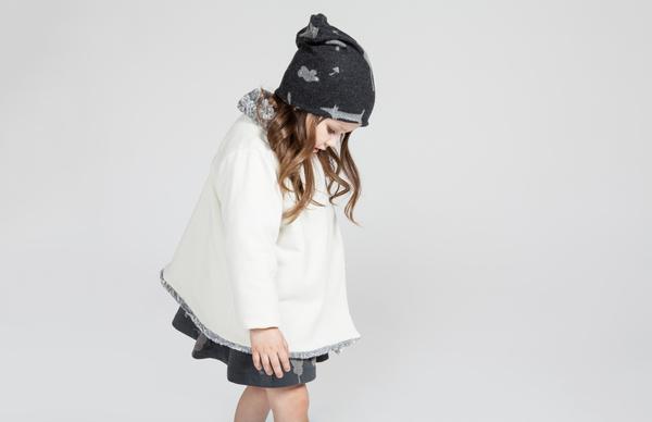 OMAMImini Grey Draped Jacket with Faux Fur