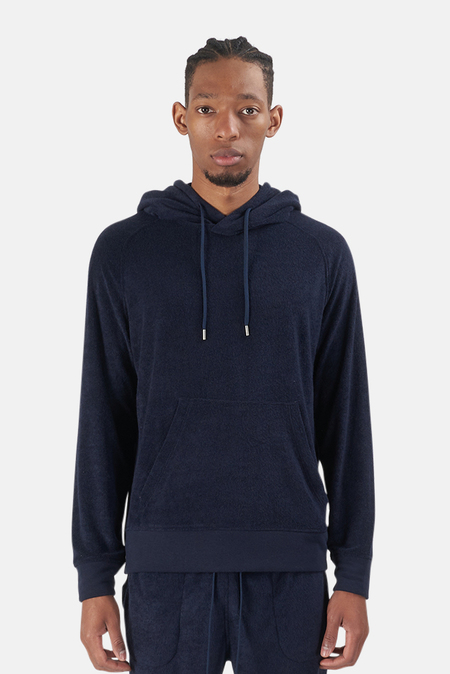 Wheelers.V Poolside Terry Pullover Hoodie Sweater - Aviator Navy