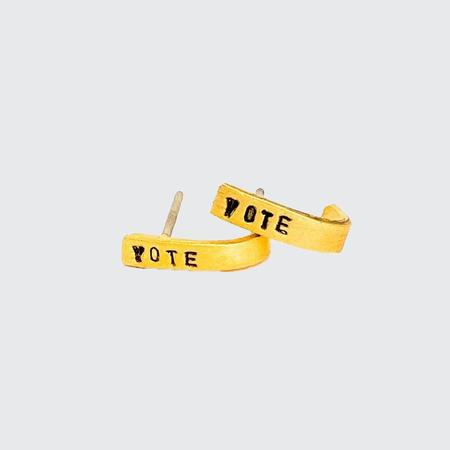 Chocolate and Steel Vote Tiny Mantra Hoops - Gold