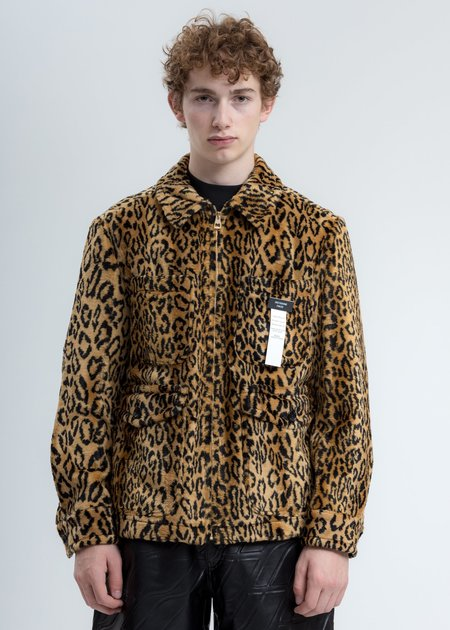 we11done Faux Fur Zip Up Jacket - Yellow Leopard