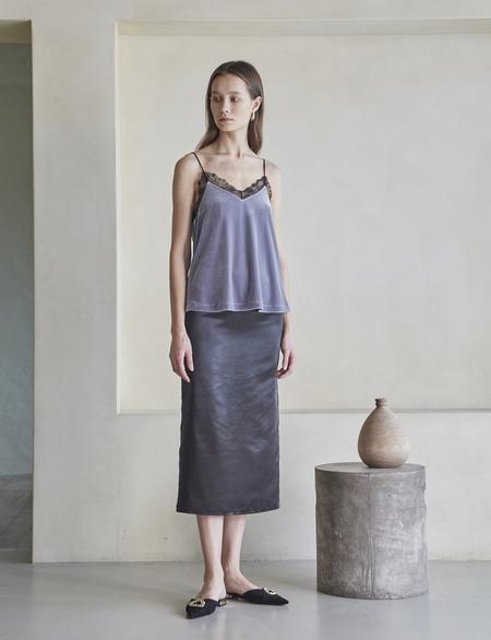 Maison De Ines Satin Pencil Skirt - Black