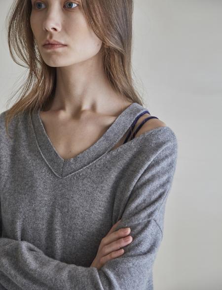 Maison De Ines V-neck Slit Sweater - Gray