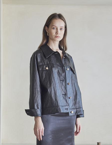 Maison De Ines Faux Leather Trucker Jacket