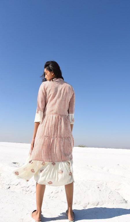 Kapraha Gathered Dress - Striped Multi