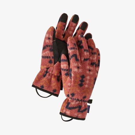 Patagonia Synchilla Fleece Wild Roots Gloves - Spanish Red
