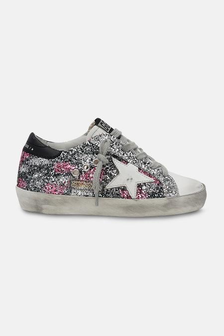 kids Golden Goose Toddler Superstar Sneaker Shoes - Fuxia/Silver Glitter