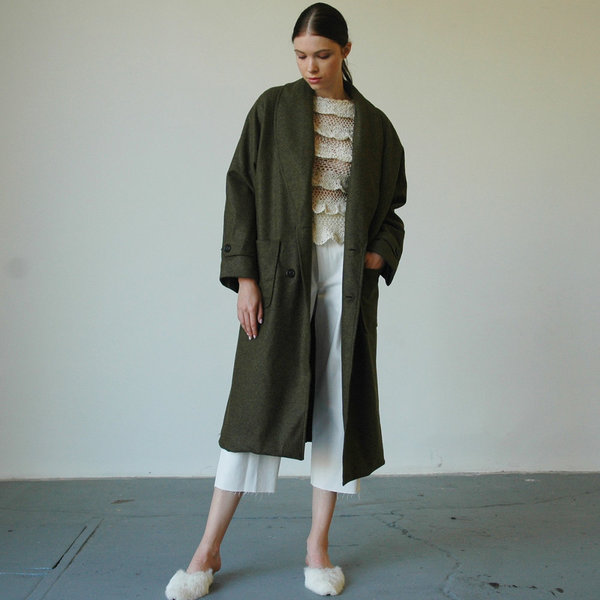 Nikki Chasin Lozano Shawl Collar Coat - Olive
