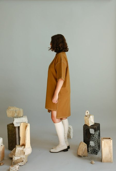 Are you Stitch Cotton Dress - Khaki