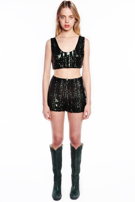 Anna Sui Daughters of Darkness Sequin Shorts - Forest