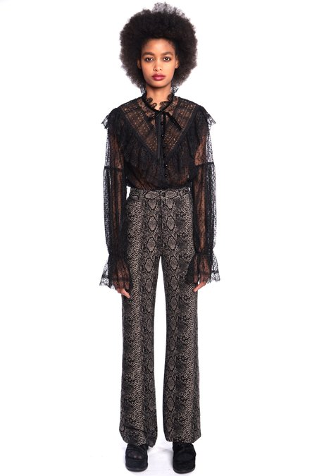 Anna Sui Serpent's Shimmer Pants - Black Multi