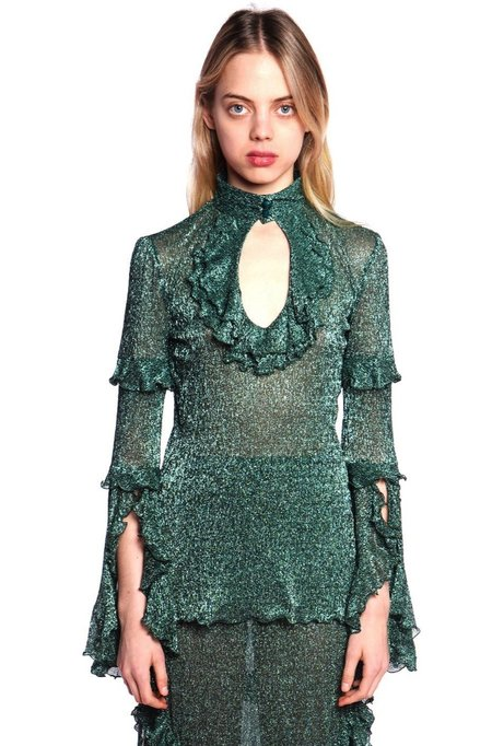 Anna Sui Twinkle Crinkle Metallic Tulle Top - Forest