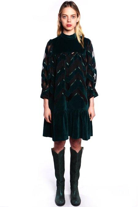 Anna Sui Velour Passion Mock Neck Dress - Forest Multi