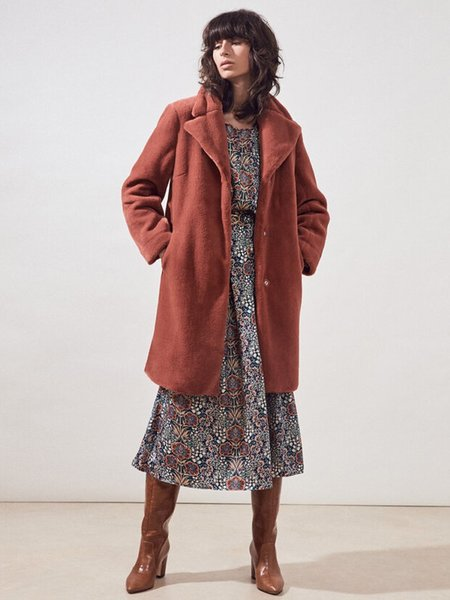 Suncoo Emeric Faux Fur Coat - Blush