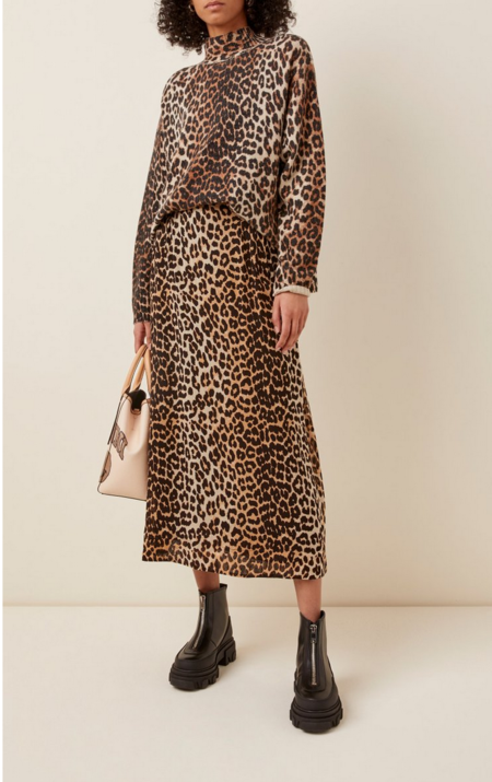 Ganni Georgette Midi Skirt - Leopard