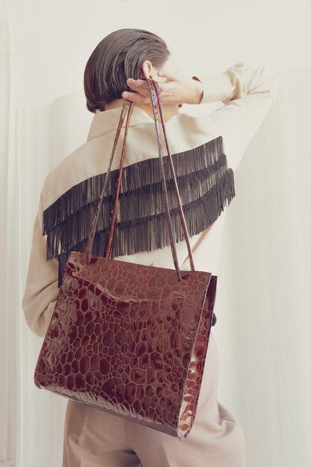 Leather Crown Lady Bag - Oxblood Croc