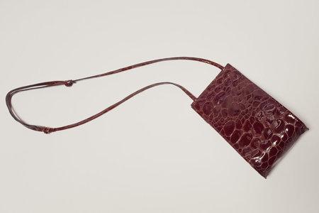 Leather Crown Droplet Crossbody - Oxblood Croc