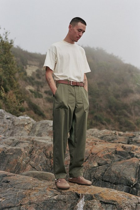 Universal Works Patched Mill Fatigue Pant - Olive/Light Olive Twill