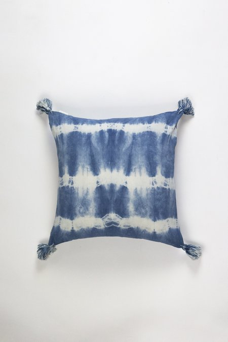 Archive New York Striped Shibori Tassel Lumbar Pillow 17 x 17 - Indigo