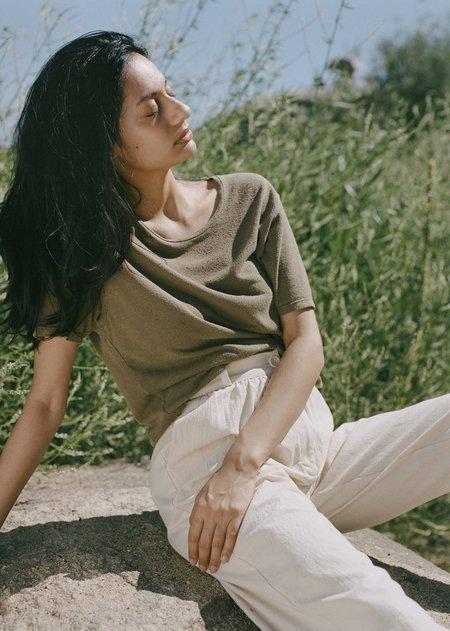 Ozma Silk Noil Jersey Oversize Tee - Military Green