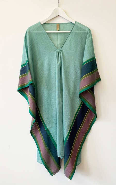 Two Mid Length Caftan - Turquoise/Blue Border