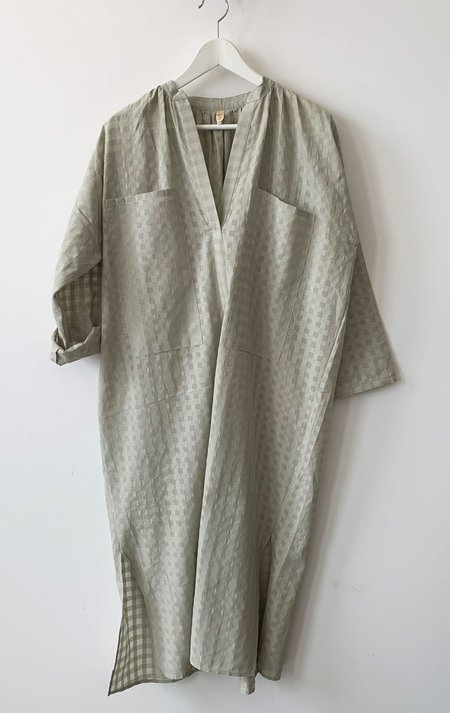 Two Pocket slim caftan dress -  cement beige