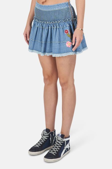 LoveShackFancy Meadow Skirt - Denim