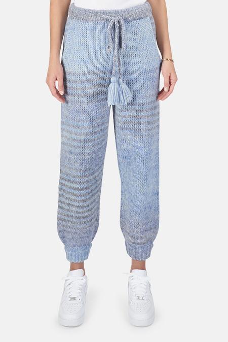 LoveShackFancy Blossom Pants - Blue Horizon