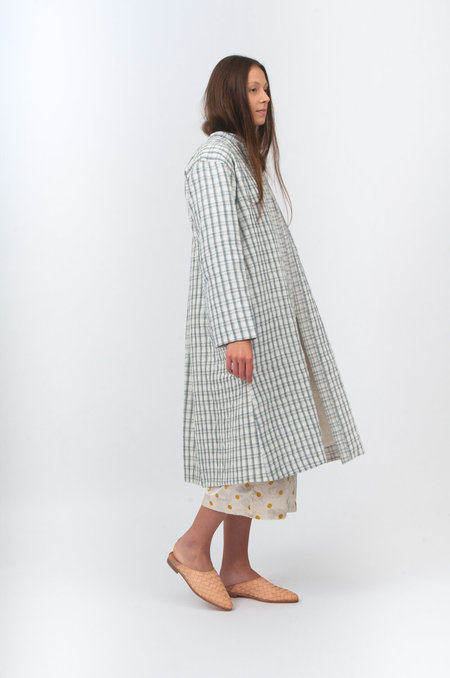 Bunon Quilting Coat - White/Grey Stripes