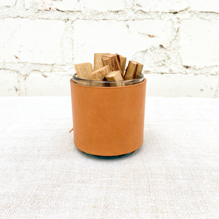 Made Solid Leather Wrapped Vintage Mexican Glass Cup