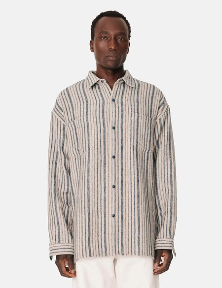 YMC Andre Stripe Shirt - Blue/Brown