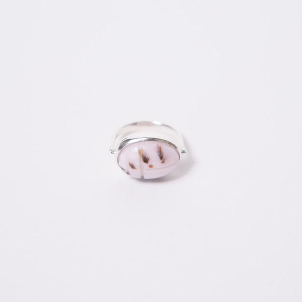 RVVL Pink Opal Scarab Swivel Ring