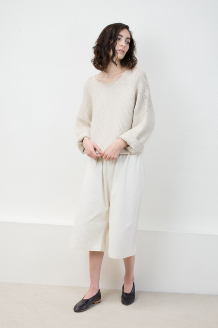 Micaela Greg Cream Woven Stitch Sweater