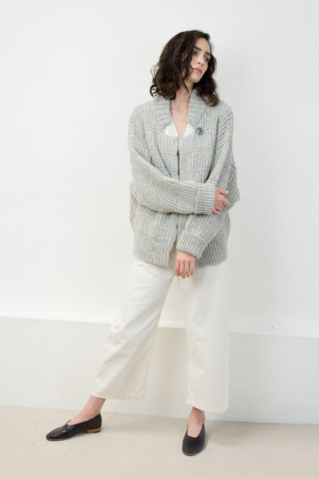 Micaela Greg Melange Grey Chain Cardigan
