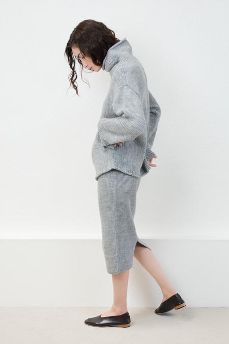 Micaela Greg Melange Grey Funnel Neck Sweater